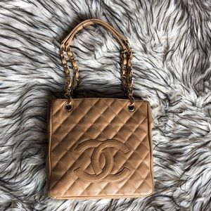 Auth CHANEL Caviar Shopping Tote Handbag Purse